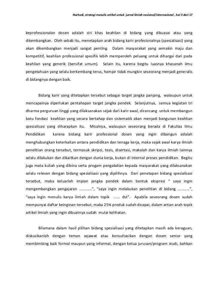 Strategi Menulis Artikel Untuk Jurnal Ilmiah Nasional