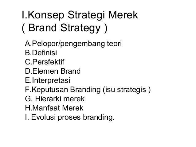 I.Konsep Strategi Merek( Brand Strategy )A.Pelopor/pengembang teoriB.DefinisiC.PersfektifD.Elemen BrandE.InterpretasiF.Kep...