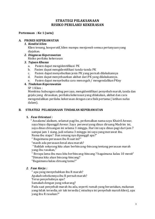 1 STRATEGI PELAKSANAAN RISIKO PERILAKU KEKERASAN Pertemuan : Ke 1 (satu) A. PROSES KEPERAWATAN 1. Kondisi klien Klien tena...