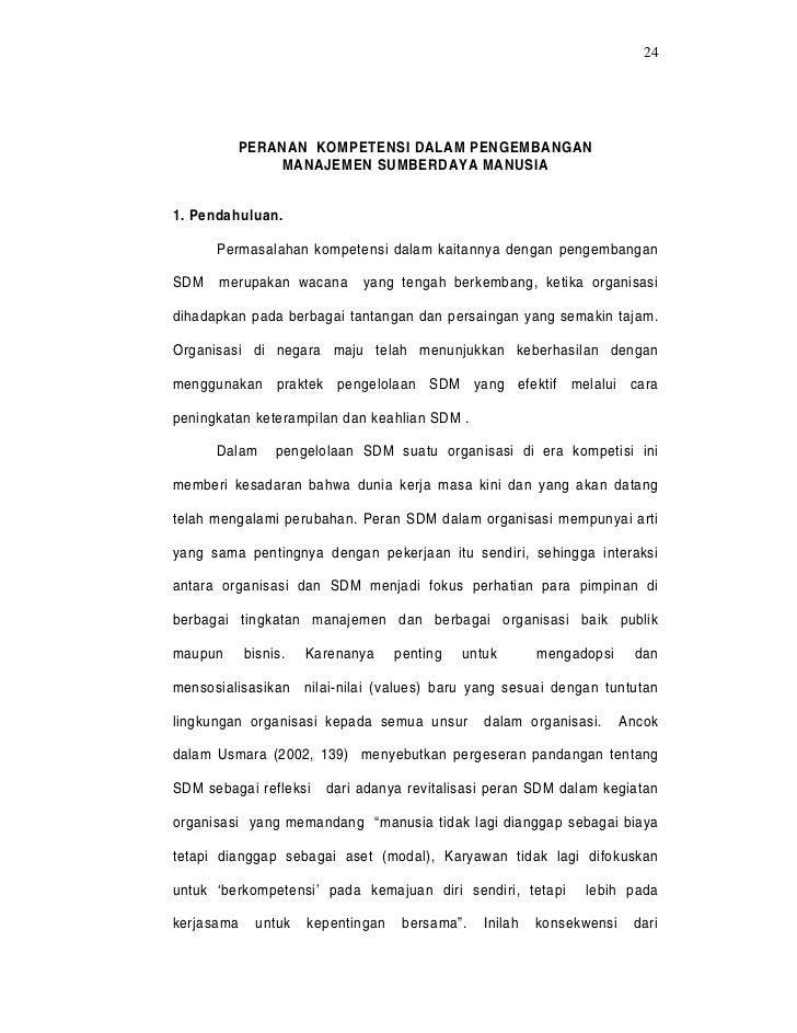 24         PERANAN KOMPETENSI DALAM PENGEMBANGAN             MANAJEMEN SUMBERDAYA MANUSIA1. Pendahuluan.      Permasalahan...