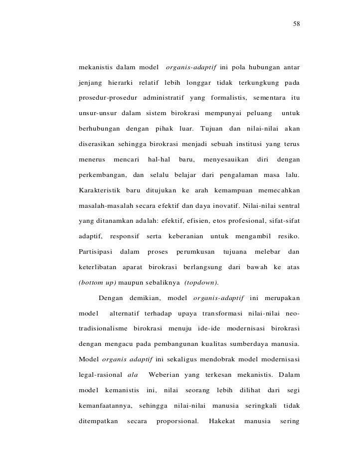 58mekanistis dalam model            organis-adaptif ini pola hubungan antarjenjang hierarki relatif lebih longgar tidak te...