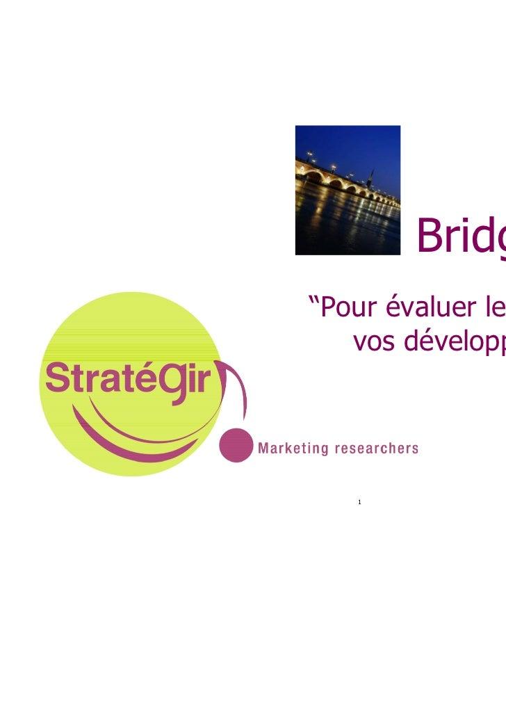 """Bridge ®""""Pour évaluer le potentiel de   vos développements""""   1"""