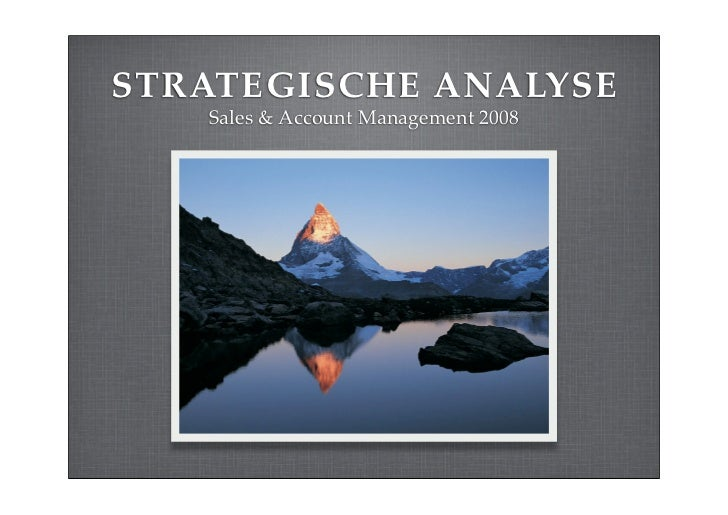 STRATEGISCHE ANALYSE    Sales & Account Management 2008