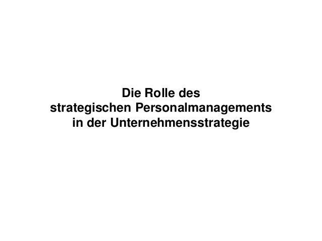 Die Rolle des strategischen Personalmanagements in der Unternehmensstrategie