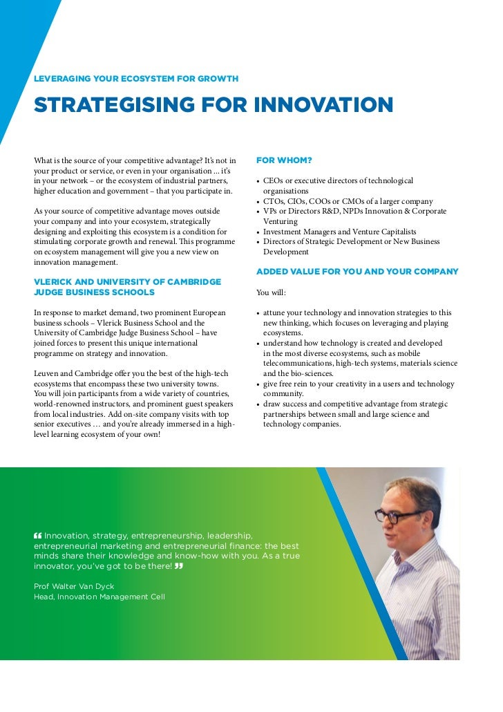 Leveraging your ecosystem for growthstrategising for innovationWhat is the source of your competitive advantage? It's not ...