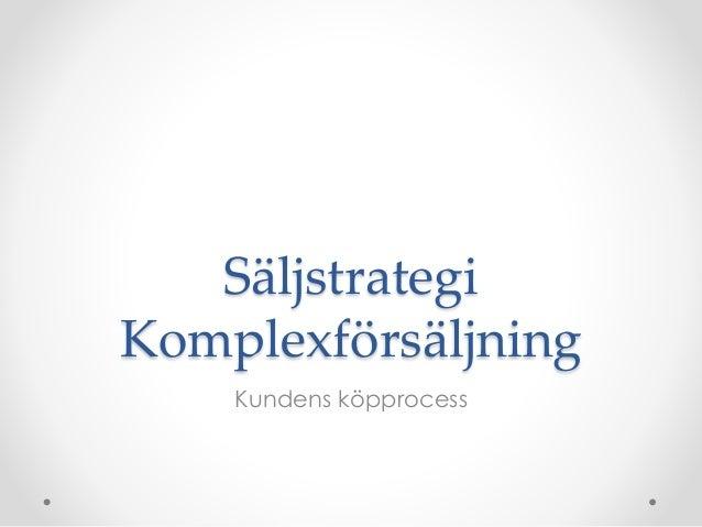 Säljstrategi Komplexförsäljning Kundens köpprocess
