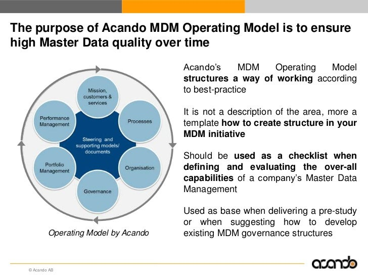 The purpose of Acando MDM Operating Model is to ensurehigh Master Data quality over time                                  ...