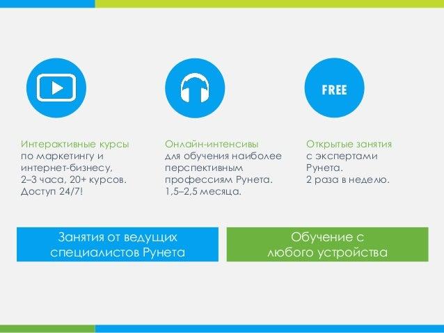 Занятия от ведущих специалистов Рунета Обучение с любого устройства Открытые занятия c экспертами Рунета. 2 раза в неделю....