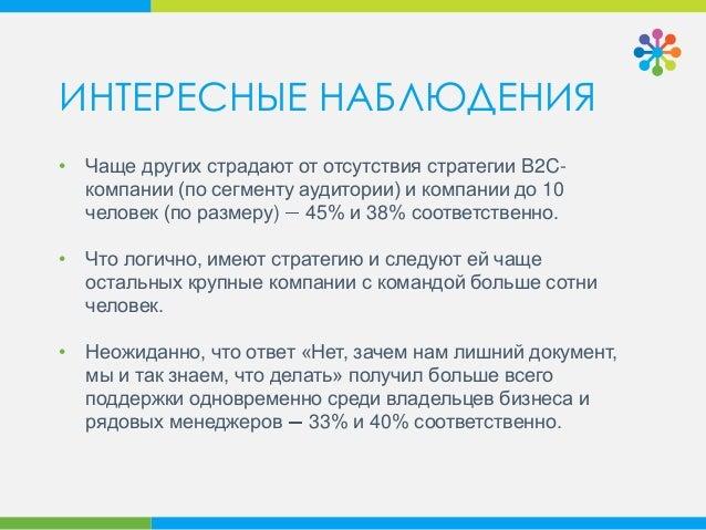 • Чаще других страдают от отсутствия стратегии B2C- компании (по сегменту аудитории) и компании до 10 человек (по размеру)...