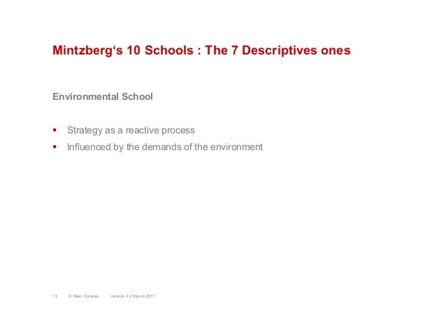 Mintzberg's 10 Schools : The 7 Descriptives onesEnvironmental School§ Strategy as a reactive process§ Influenced by th...