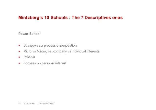 Mintzberg's 10 Schools : The 7 Descriptives onesPower School§ Strategy as a process of negotiation§ Micro vs Macro, i....