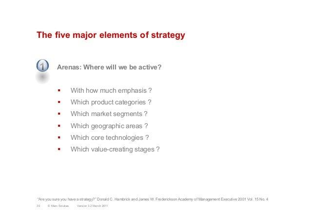 The five major elements of strategyArenas: Where will we be active?§  With how much emphasis ?§  Which product categorie...