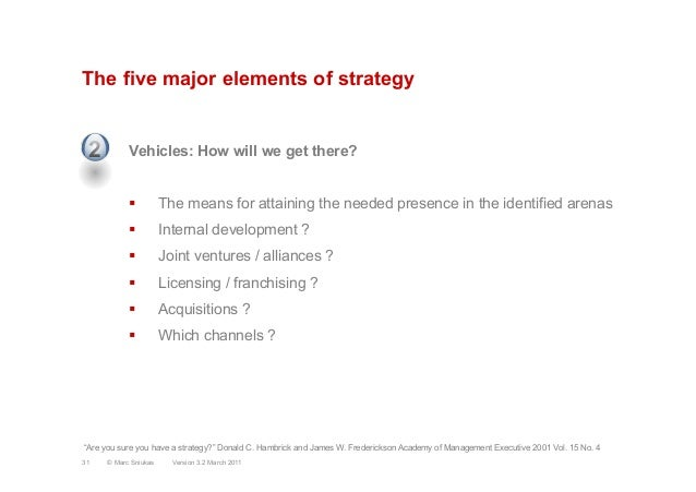 The five major elements of strategyVehicles: How will we get there?§  The means for attaining the needed presence in the ...