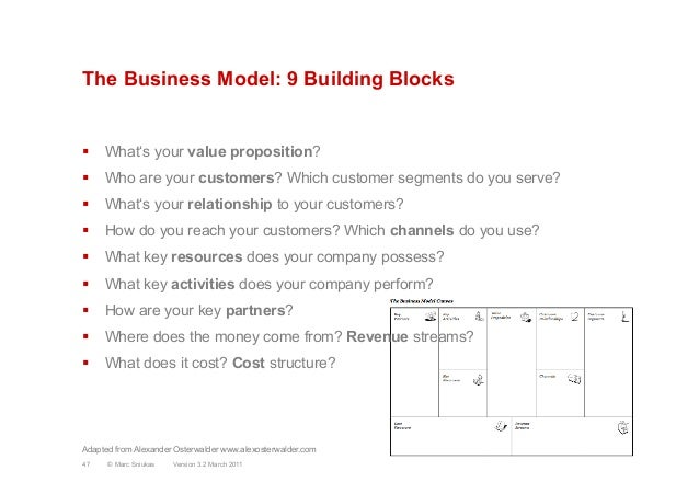 The Business Model: 9 Building Blocks§  What's your value proposition?§  Who are your customers? Which customer segments...