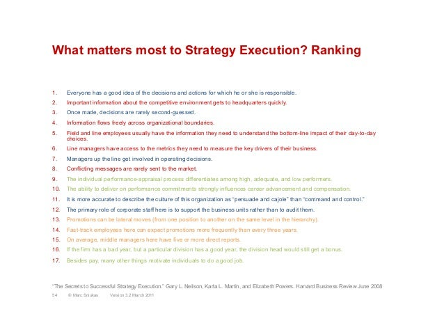 What matters most to Strategy Execution? Ranking1.  Everyone has a good idea of the decisions and actions for which he or ...