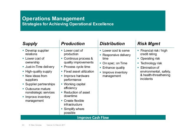 Operations ManagementStrategies for Achieving Operational ExcellenceSupply Production Distribution Risk Mgmt§  Develop su...
