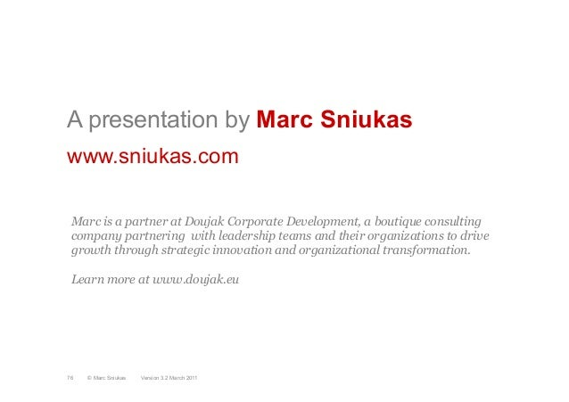 A presentation by Marc Sniukaswww.sniukas.comVersion 3.2 March 2011© Marc Sniukas76Marc is a partner at Doujak Corporate D...
