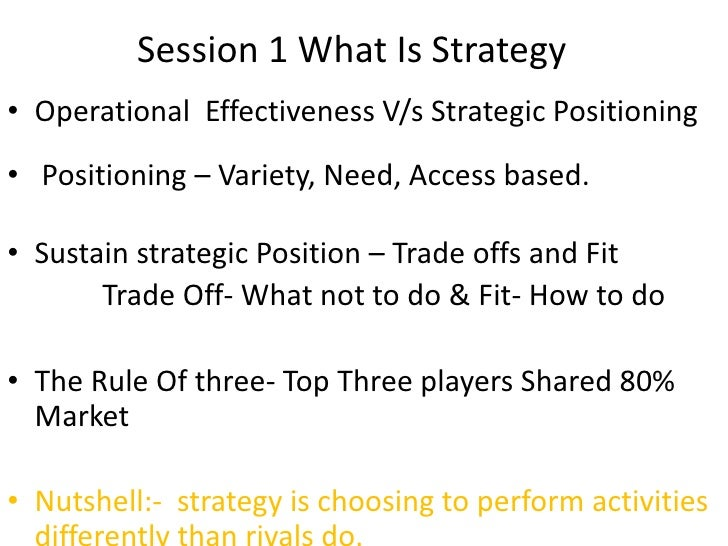 Session 1 What Is Strategy<br />Operational  Effectiveness V/s Strategic Positioning<br /> Positioning – Variety, Need, Ac...
