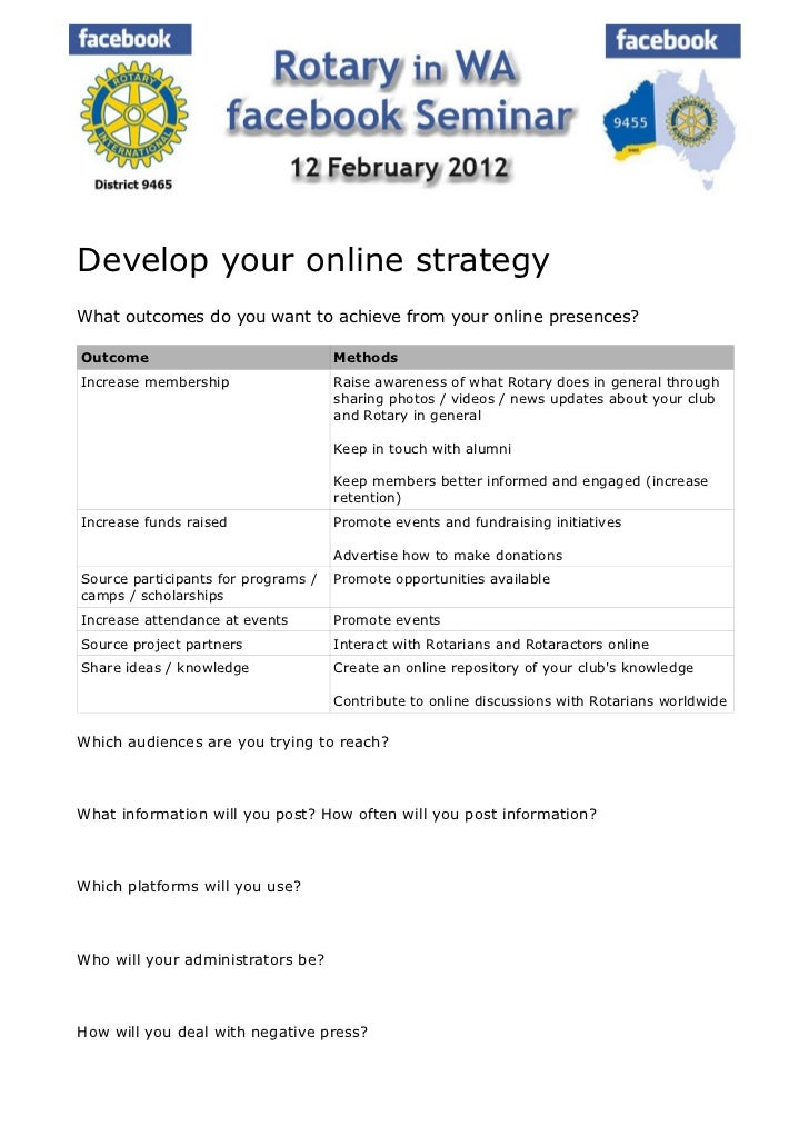 Develop your online strategyWhat outcomes do you want to achieve from your online presences?Outcome                       ...
