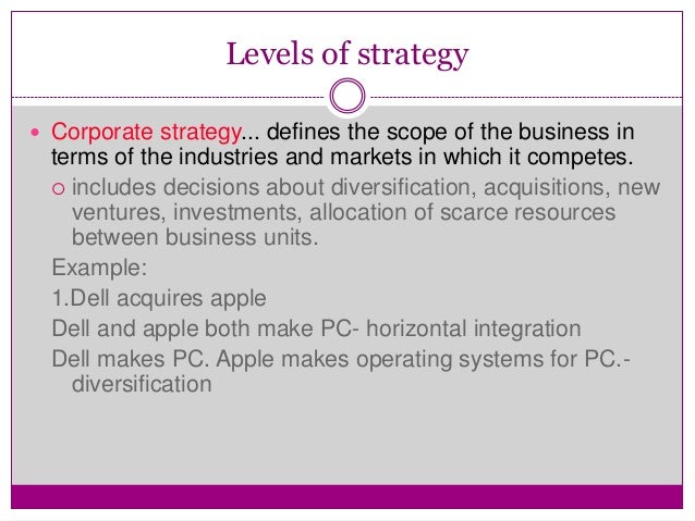 dell functional level strategy A) business level strategy b) functional level strategy c) marketing strategy d) corporate level strategy answer: d differentiate between business level and corporate level strategies and give examples of each.