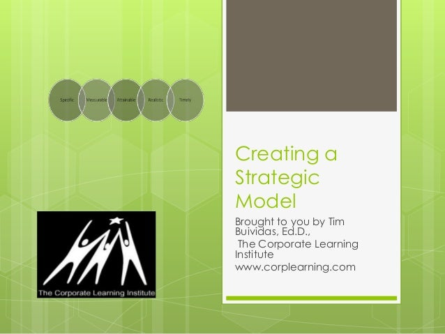 Creating a Strategic Model Brought to you by Tim Buividas, Ed.D., The Corporate Learning Institute www.corplearning.com