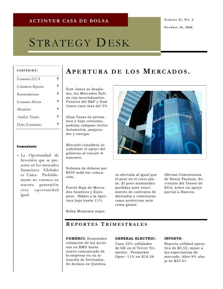 Semana 41, No. 2         ACTINVER CASA DE BOLSA                                                                           ...