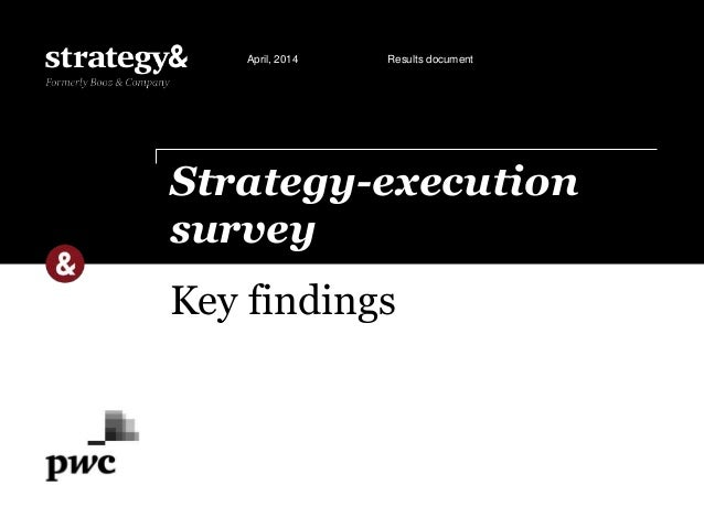 Key findings Strategy-execution survey April, 2014 Results document