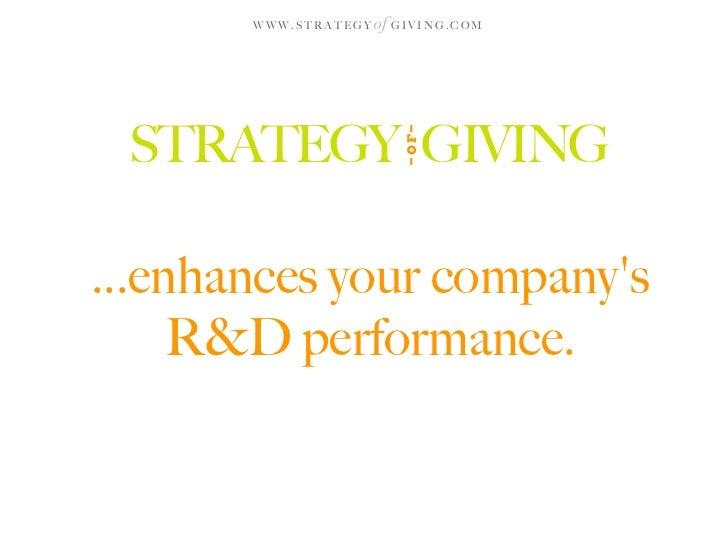 WWW.STRATEGY   of G I V I N G . C O M      STRATEGY GIVING                                OF ...enhances your company's   ...