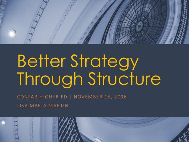 @ redsesame #confabEDU 1 Better Strategy Through Structure CONFAB	HIGHER	ED	|	NOVEMBER	15,	2016 LISA	MARIA	MARTIN