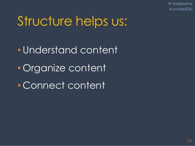 @ redsesame #confabEDU 16 Structure helps us: • Understand content • Organize content • Connect content