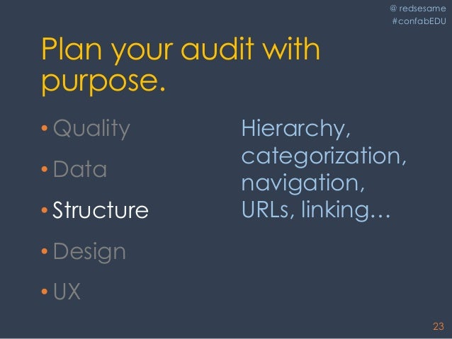 @ redsesame #confabEDU 23 Plan your audit with purpose. • Quality • Data • Structure • Design • UX Hierarchy, categorizati...