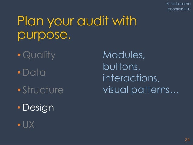 @ redsesame #confabEDU 24 Plan your audit with purpose. • Quality • Data • Structure • Design • UX Modules, buttons, inter...