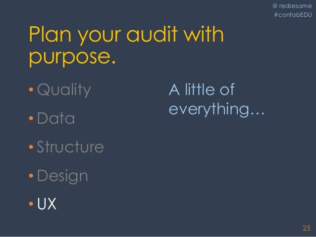 @ redsesame #confabEDU 25 Plan your audit with purpose. • Quality • Data • Structure • Design • UX A little of everything…