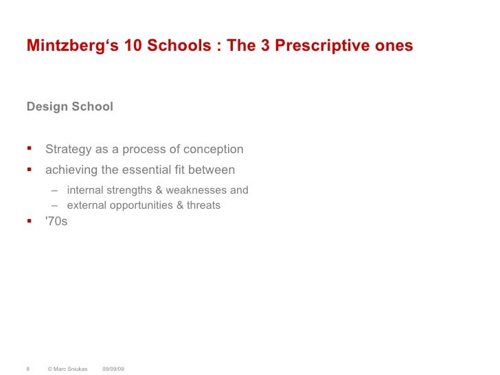"""prescriptive school of strategy We are the blind people and strategy formation is our elephant  this article, we  review briefly the evolution of the field in terms of ten """"schools."""
