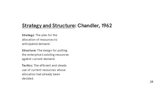 Strategy: The plan for the allocation of resources to anticipated demand. Structure: The design for putting the enterprise...