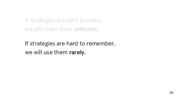 30 If strategies are hard to make, we will make them seldomly. If strategies are hard to remember, we will use them rarely.