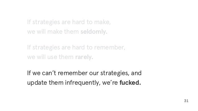 31 If strategies are hard to make, we will make them seldomly. If strategies are hard to remember, we will use them rarely...
