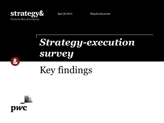 Key findings Strategy-execution survey April 23 2014 Results document