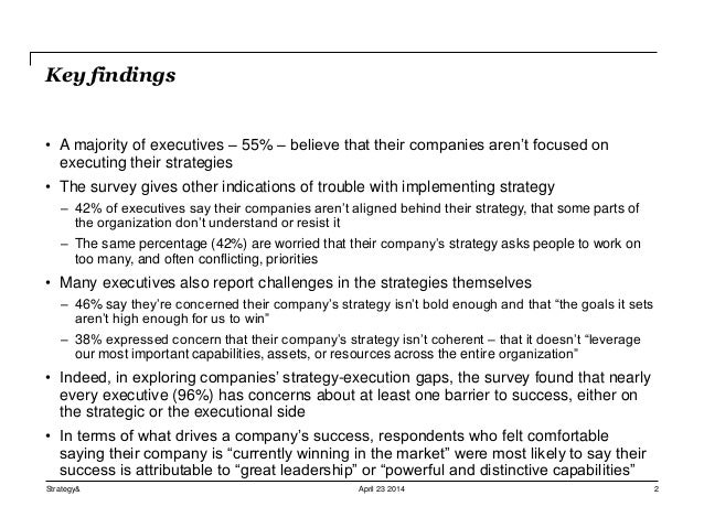 "Etude Strategy& ""Strategy execution survey"" (2014)"