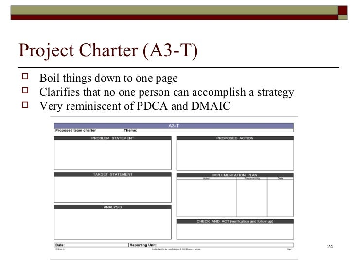 one page project charter template - strategy deployment