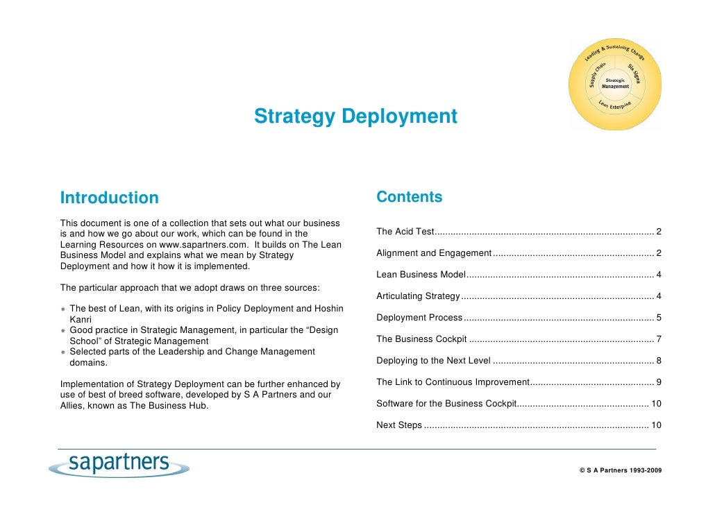 Strategy Deployment   Introduction                                                           Contents This document is one...