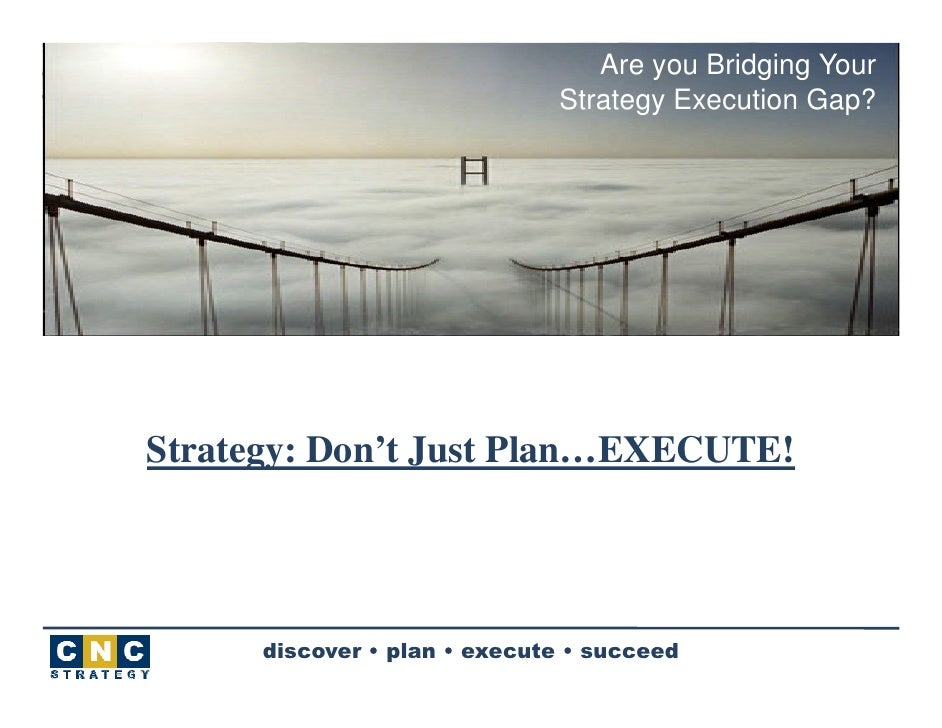Are you Bridging Your                               Strategy Execution Gap?     Strategy: Don't Just Plan…EXECUTE!        ...