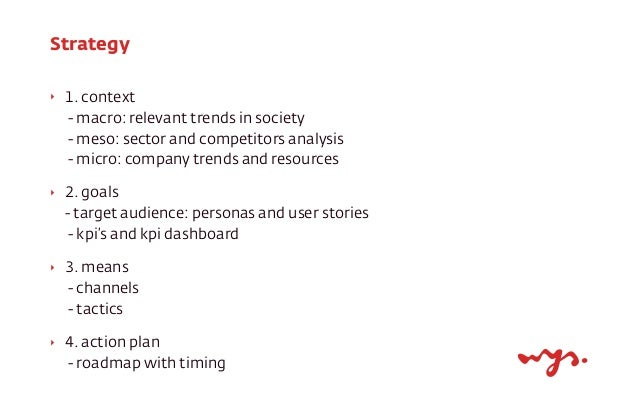 Strategy ‣  1. context - macro: relevant trends in society - meso: sector and competitors analysis - micro: company trends...