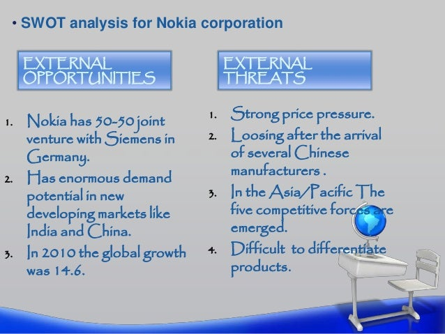 nokia external analysis The internal and external situation analysis can produce a large amount of information, much of which may not be highly relevant the swot analysis can serve as an interpretative filter to reduce the information to a manageable quantity of key issues.