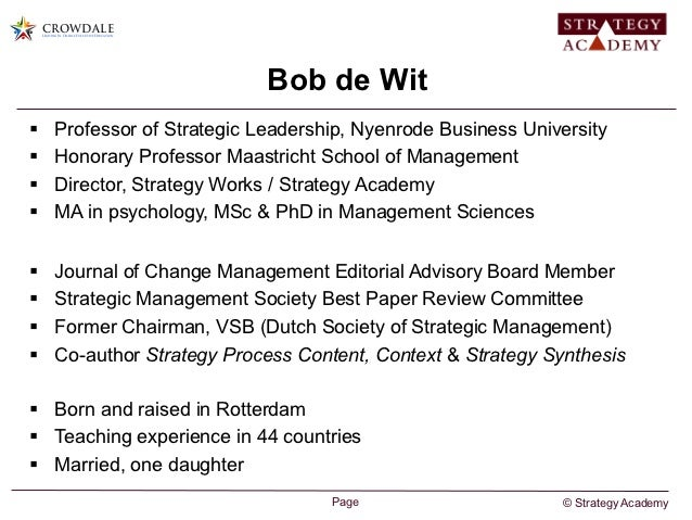 de wit meyer Bob de wit is the director of strategy works/strategy academy he is also a member of the rotterdam economic board and a member of the international advisory board rotterdam from 1986 to 1996, he was a professor in strategic management at the rotterdam school of management.