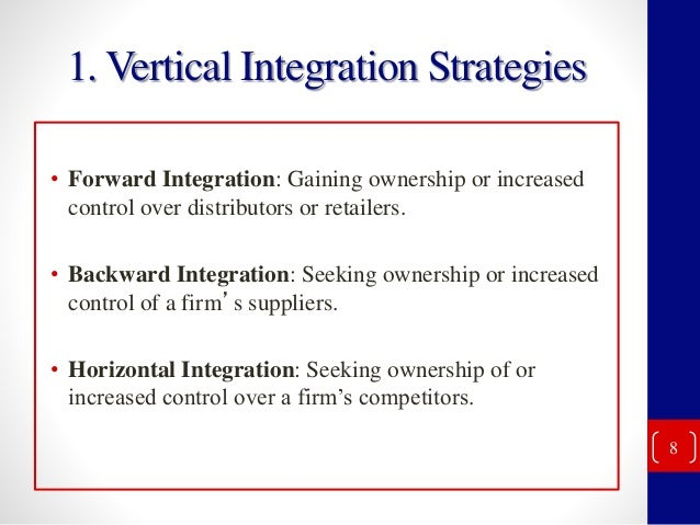 backword n forword integration essay Introduction to vertical integration and horizontal integration mba essays mba the decision-making that goes into backward and forward integration.