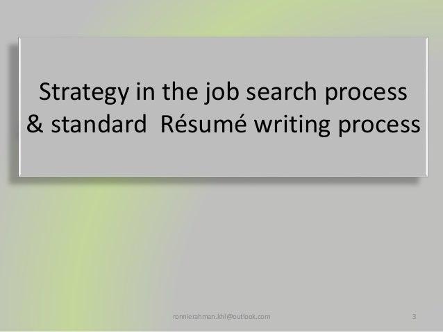 Tactic in the job search procedure & standard Résumé writing procedure