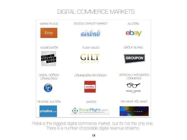 DIGITAL COMMERCE MARKETSRetail is the biggest digital commerce market, but it's not the only one.          There is a numb...