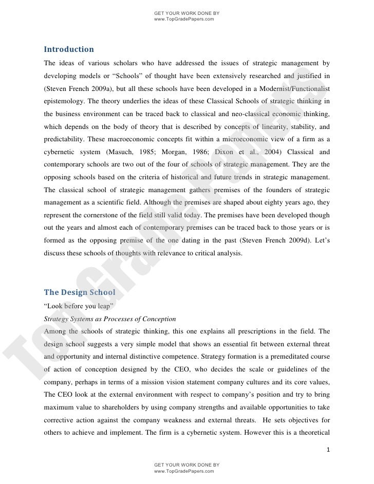 Tips strategic management essay