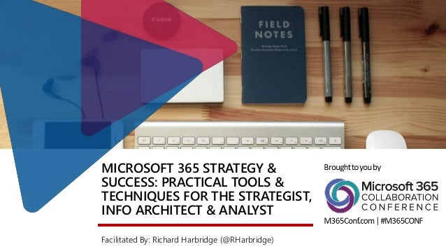 MICROSOFT 365 STRATEGY & SUCCESS: PRACTICAL TOOLS & TECHNIQUES FOR THE STRATEGIST, INFO ARCHITECT & ANALYST Facilitated By...
